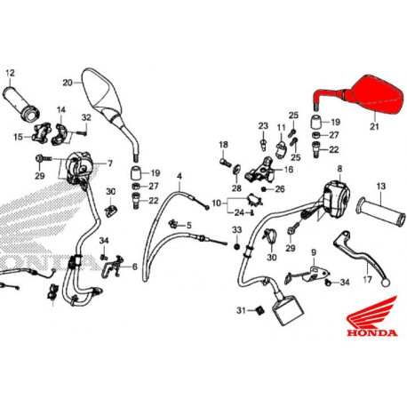 88220-MJE-D40 : Honda OEM left mirror CB650 CBR650