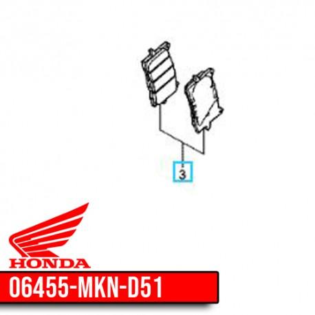 06455-MKN-D51 : Plaquettes de frein avant d'origine Honda CB650 CBR650